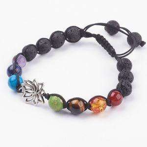 Chakra Lotus Gemstones & Lava Rocks Bracelet.
